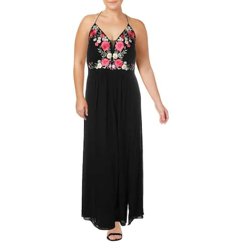 NW Nightway Womens Plus Evening Dress Embroidered Corset-Back - Black/Multi - 20W
