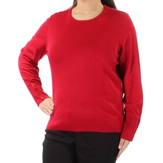 Womens Red Long Sleeve Jewel Neck Sweater Size XL