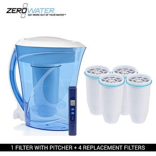 Zero Water 8 Cup Pitcher Bundle - 4 Pack Water Dispenser W/ Pull & Pour Button