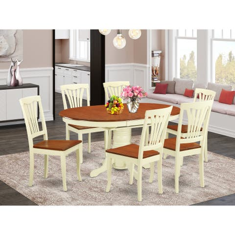 7-piece Oval Dining Room Table with Leaf and Dining Chairs