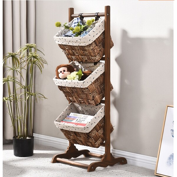 Wooden Magazine Rack With 3 Baskets
