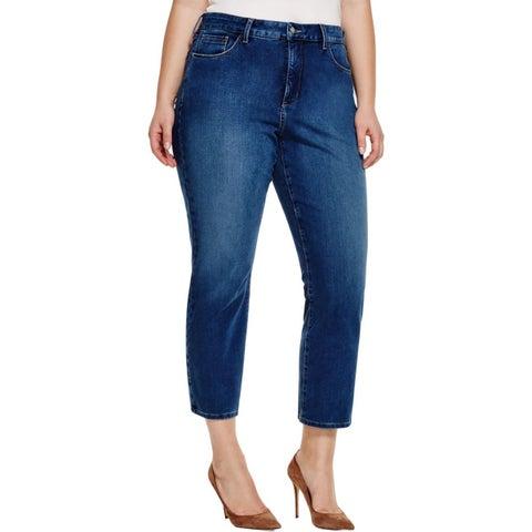 NYDJ Womens Plus Ira Ankle Jeans Denim Medium Wash