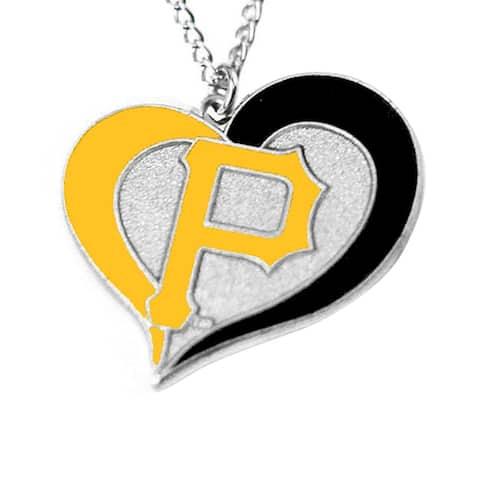 MLB Pittsburgh Pirates Sports Team Logo Swirl Heart Necklace