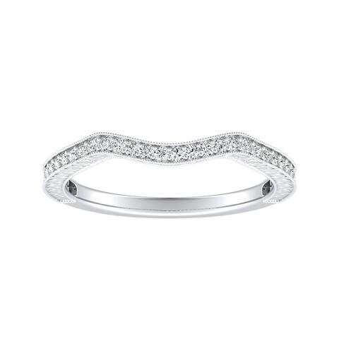 Auriya 1/8ctw Vintage Curved Diamond Wedding Band Platinum