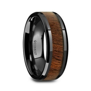 KONY Black Titanium Walnut Wood Inlay Men's Wedding Ring - 8mm