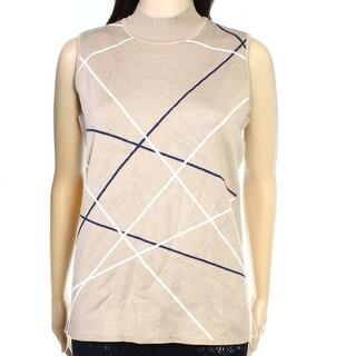 Alfani NEW Brown Womens Size Large L Stripe Mock-Neck Vest Sweater