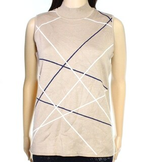 Alfani NEW Brown Womens Size Large L Striped Mock-Neck Vest Sweater