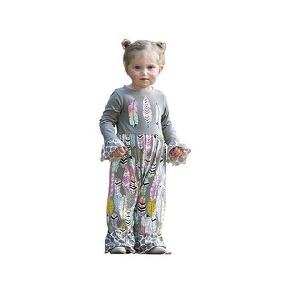 AnnLoren Baby Girls Gray Feather & Polka Dot Print Romper