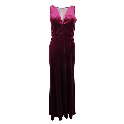 Nightway Women's Plus Size Plunging Illusion Velvet Gown (16W, Wine) - Wine - 16W