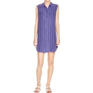 Equipment Womens Shirtdress Silk Pinstripe - l