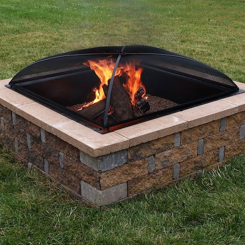 Sunnydaze 40-Inch Heavy-Duty Steel Square Mesh Fire Pit Spark Screen Cover - 40 Inch