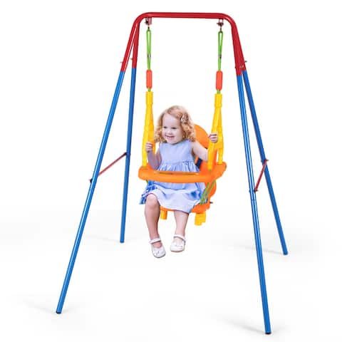 Gymax Toddler Swing Set High Back Seat w/ Handrails A-Frame Metal
