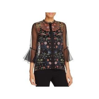 Elie Tahari Womens Rienna Blouse Embroidered Bell-Sleeves