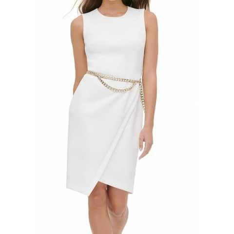 Tommy Hilfiger Women's Dress White Size 14 Sheath Belly-Chain