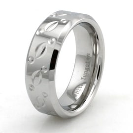 Hand Carved Polished White Tungsten Ring w/ Pattern and Beveled Edge