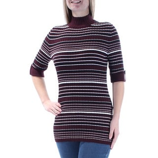 STYLE & COMPANY $50 Womens New 1448 Maroon Striped Short Sleeve Sweater M B+B