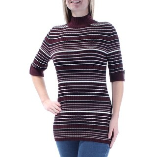 STYLE & COMPANY $50 Womens New 1451 Maroon Striped Short Sleeve Sweater M B+B