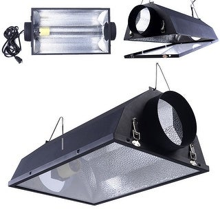 "Costway 6"" Air Cooled Hood Reflector Hydroponics Light Grow Hydroponic w/ Glass Cover - Black"