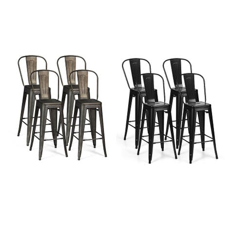 Costway Set of 4 High Back Metal Stool 30'' Seat Bar Height Industrial