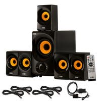 Acoustic Audio AA5170 Home 5.1 Bluetooth Speaker System Optical In 4 Ext. Cables