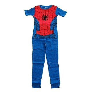 Marvel Boys Blue Red Spider-Man Short Sleeve Two Piece Pajama Set