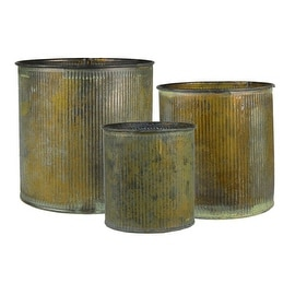 CYS® Corrugated Zinc Metal Galvanized Plant Pot Cylinder Vases, Pots, Planters - Set of 3