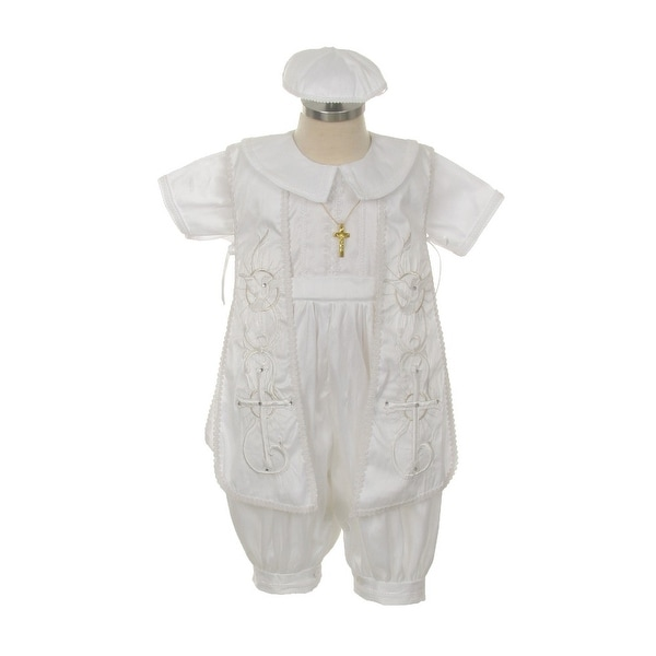 9d237d6df Shop Rain Kids Baby Boys White Shantung Silk Cross Hat Stole Baptism Romper  6-24M - Free Shipping Today - Overstock - 23077987