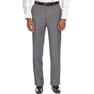 Alfani Red Label Slim Fit Grey Glen Plaid Flat Front Dress Pants 30 x 30