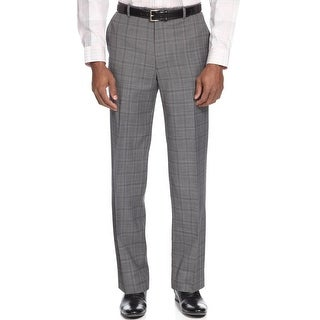 Alfani Red Label Slim Fit Grey Glen Plaid Flat Front Dress Pants 30W x 32L - 30