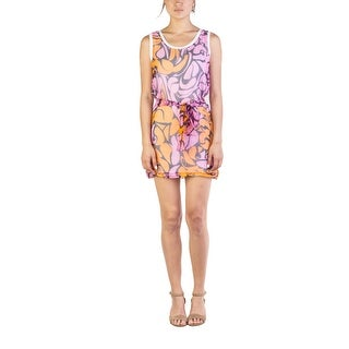 Miu Miu Women's Silk Cotton Floral Print Bow Wrap Dress Pink - small