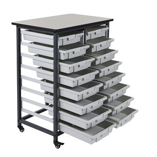 """OF-MBS-DR-16S - Offex 37.5"""" Double Row Mobile Bin Storage Unit - Gray"""