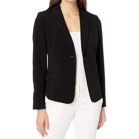 Lark & Ro Womens Blazer Deep Black Size 0 One-Button Solid Stretch