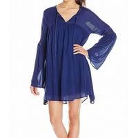 Volcom Blue Womens Size Small S Split Neck Baby Doll Shift Dress