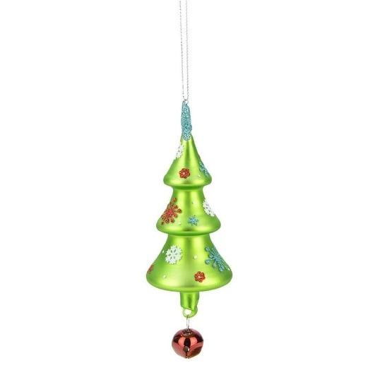 "Christmas Brites Glittered Snowflake Jingle Bell Round Tree Glass Christmas Ornament 6.25"" - green"