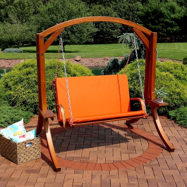 Sunnydaze Deluxe 2 Person Wooden Patio Swing with Burnt Orange Cushions