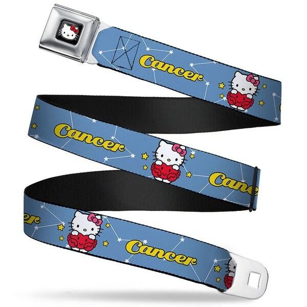 Hello Kitty W Red Bow Full Color Black Hello Kitty Zodiac Cancer Webbing Seatbelt Belt