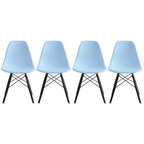 Set of 4 Retro Designer Plastic Molded Shell Dining Chairs Dark Wooden Kitchen Office DSW Eiffel Dowel Bedroom Desk