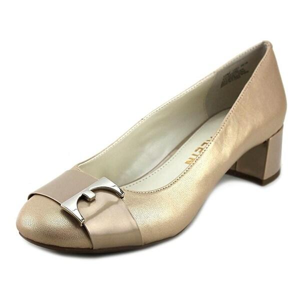 Anne Klein Hastobe Women Round Toe Leather Gold Heels