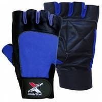 Weight Lifting Gloves Leather Fitness Training Gym Straps Workout Blue G2N