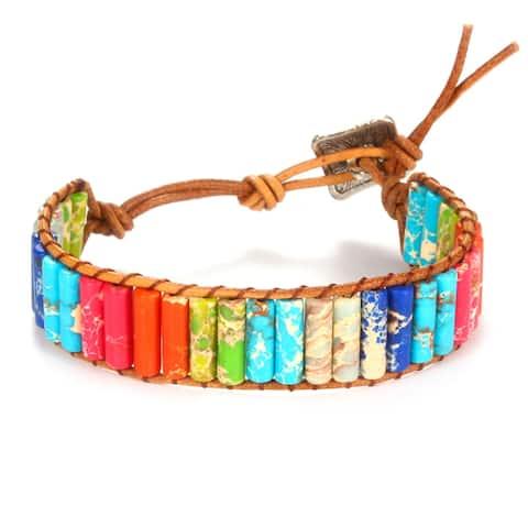 Leo Rosi Hand Made Rainbow Natural Stones Bracelet