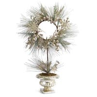 """28"""" Champagne Potted Artificial Christmas Pine Wreath with Snowflakes and Ribbon - GOLD"""