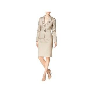 Le Suit Womens Skirt Suit Shimmer Peplum