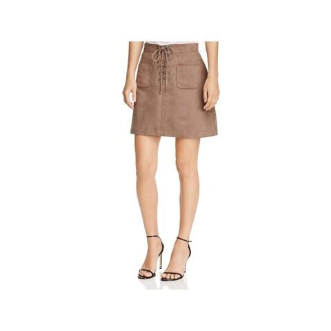 Beltaine Womens Birken Mini Skirt Faux Suede Lace-Up