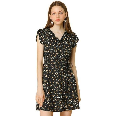Women Floral Crossover V Neck Petal Sleeves Flowy Dress w Belt