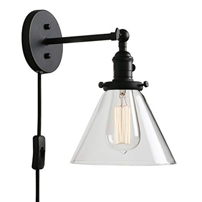 Plug In Wall Light Clear Gl On Off Switch Black Sconce