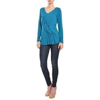 M by Marc Bouwer Long Sleeve Jersey Knit Ruffle Top Shirt Blouse - XS