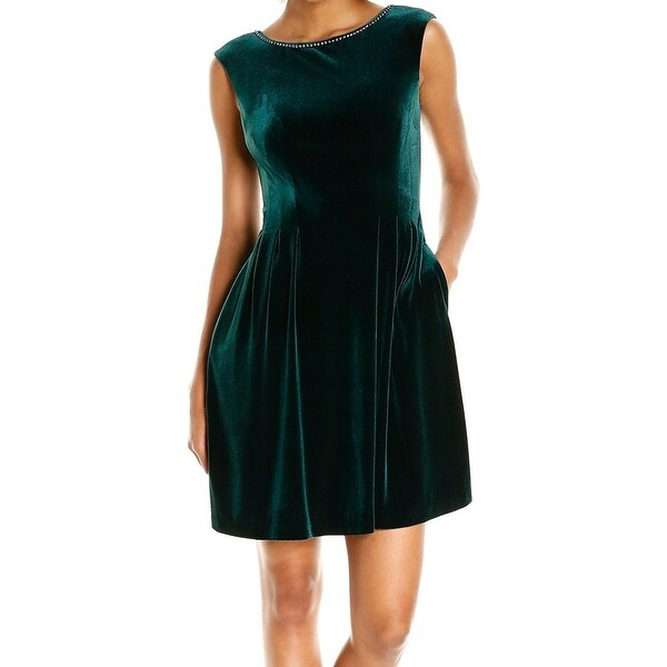 38115cf3ea Vince Camuto NEW Green Womens Size 12 Embellished Velvet Sheath Dress