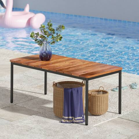 Priage by ZINUS Black Aluminum and Acacia Wood Outdoor Table with Waterproof Cover