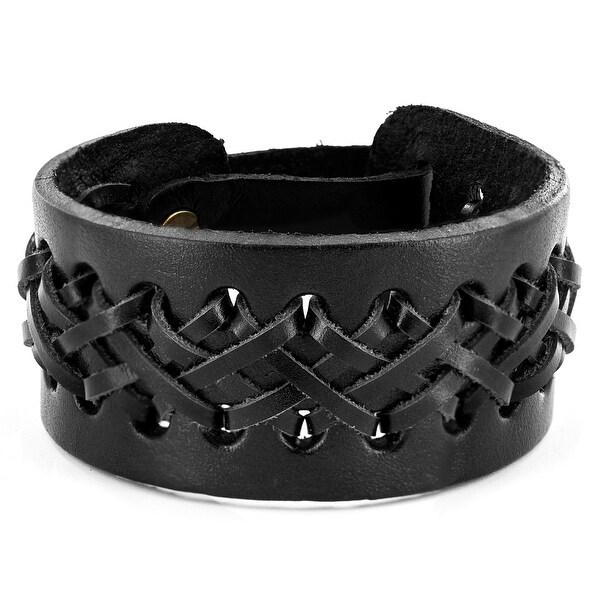 Black Laced Leather Cuff Bracelet (33 mm) - 8 in