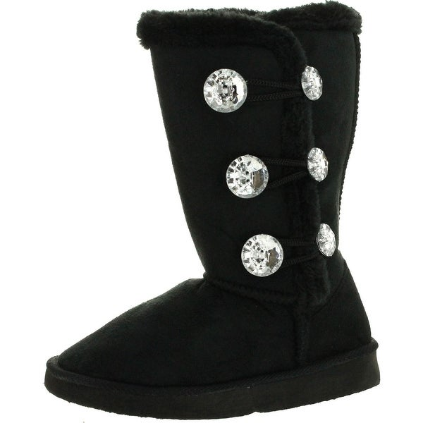 "Static Girls Fashion Microsuede 9"" Winter Boots With Jewel Ornament And Faux Fur"